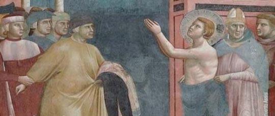 Giotto: Storie di San Francesco - La rinuncia agli averi - Assisi, Basilica Superiore.