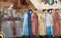 La raffigurazione della Concordia, virtù del buon governo. Particolare dell'affresco di Lorenzetti - Simone Martini, Palazzo del Comune, Siena.