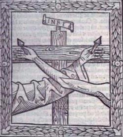 """La mano di Cristo e quella di Francesco inchiodate sulla medesima croce, frontespizio del """"De conformitate"""" di Bartolomeo da Pisa, 1513"""