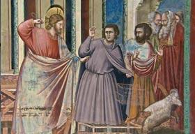 Giotto (Cappella degli Scrovegni) - La cacciata dei mercanti dal Tempio.